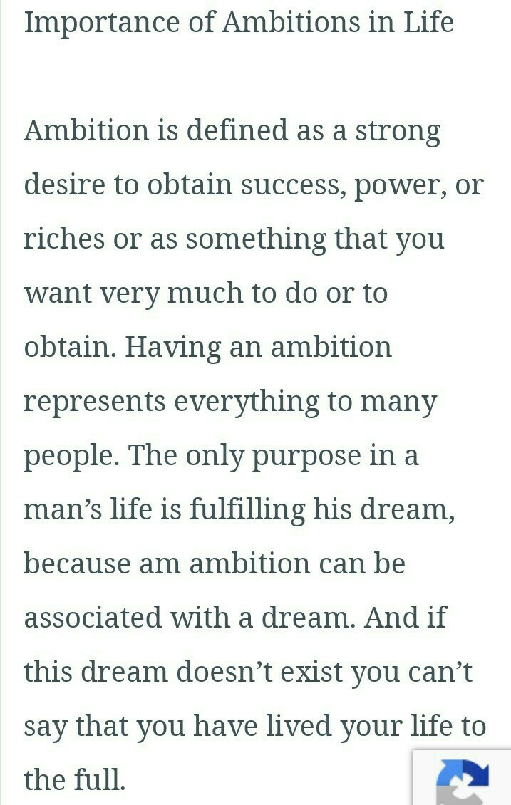 ambition in life