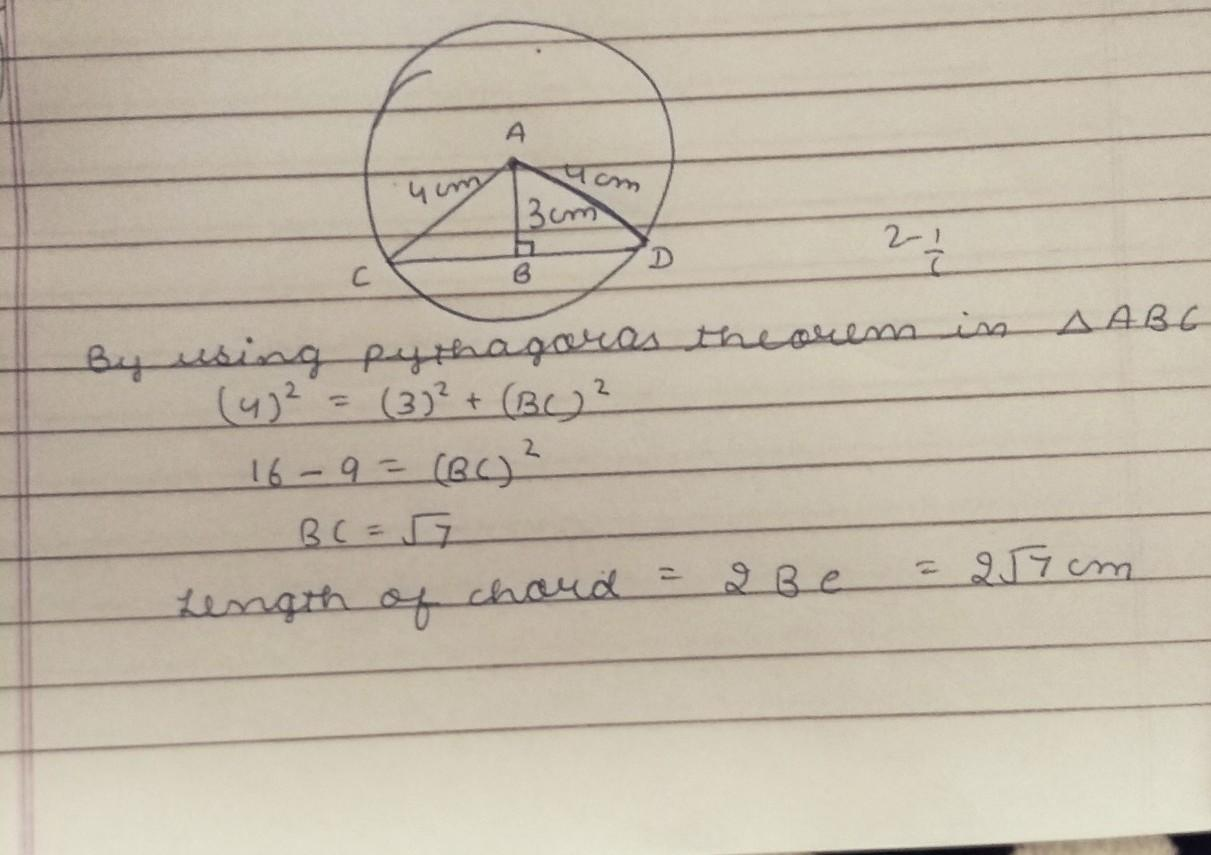 a chord of circle of radius 15cm is at a distance 15cm from the ...