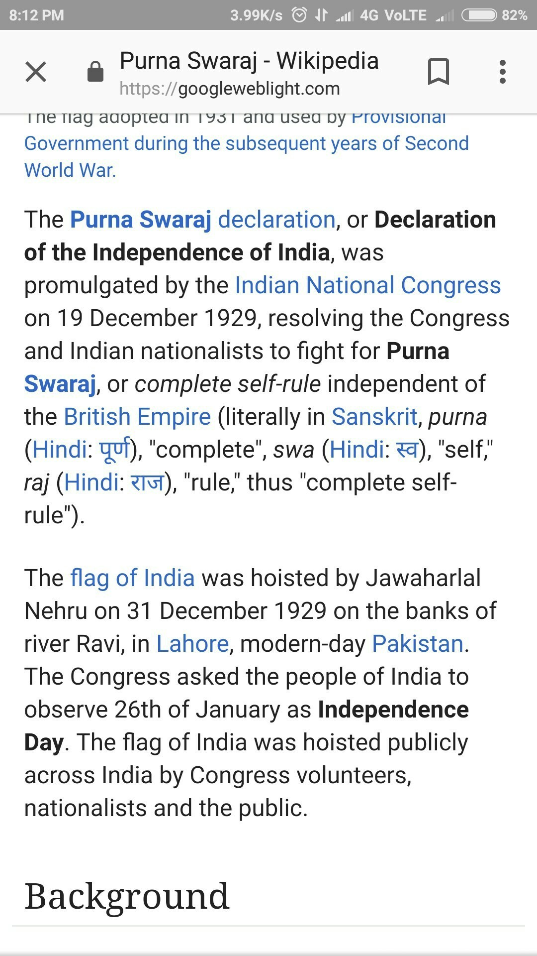 short note on independence day