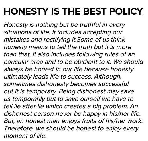 Honesty is the best policy school essay a lot of college students buy essay online