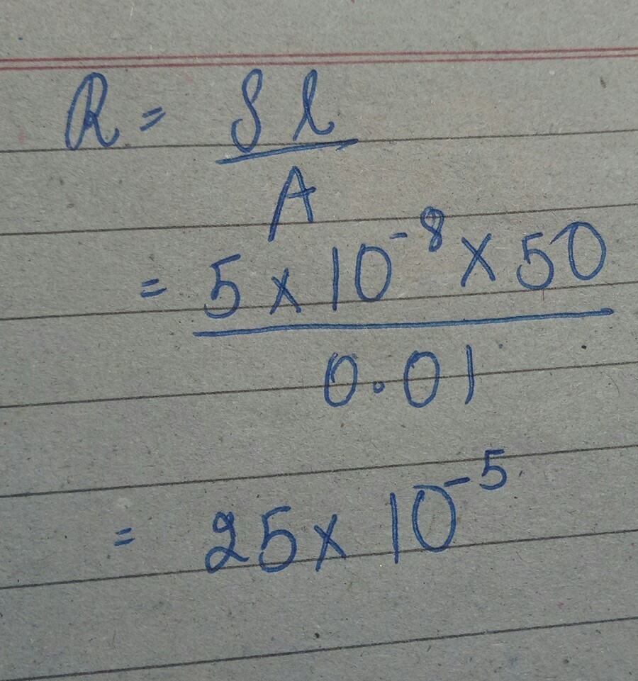 calculate the resistance pf a 50m length of wire of cross section ...