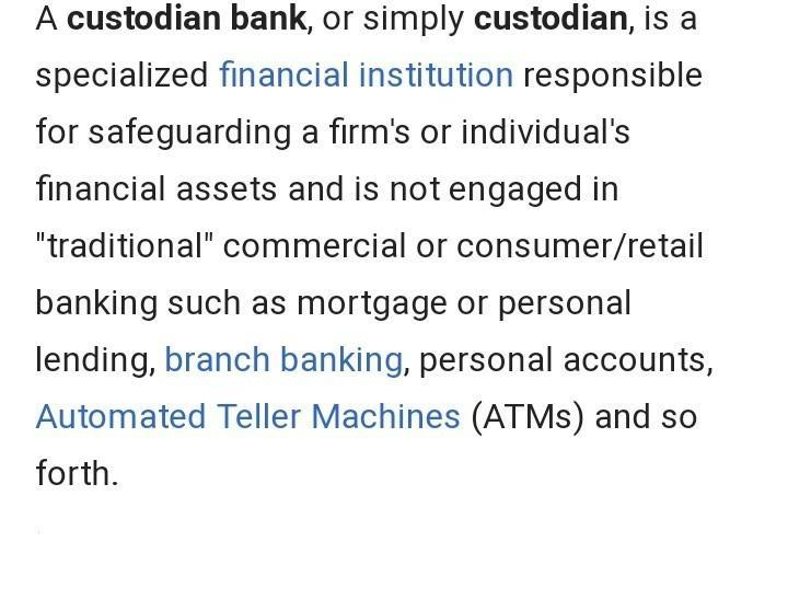Capital adequacy requirement for a custodian of securities