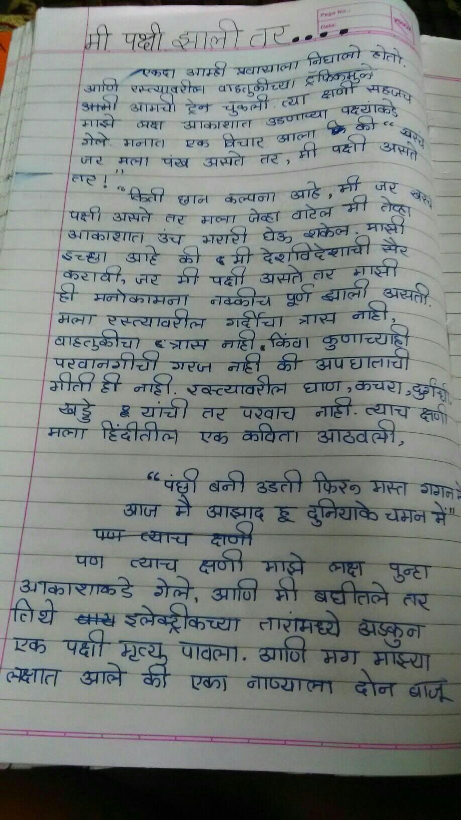 Essay in marathi mi pakshi zalo tar - Brainly in