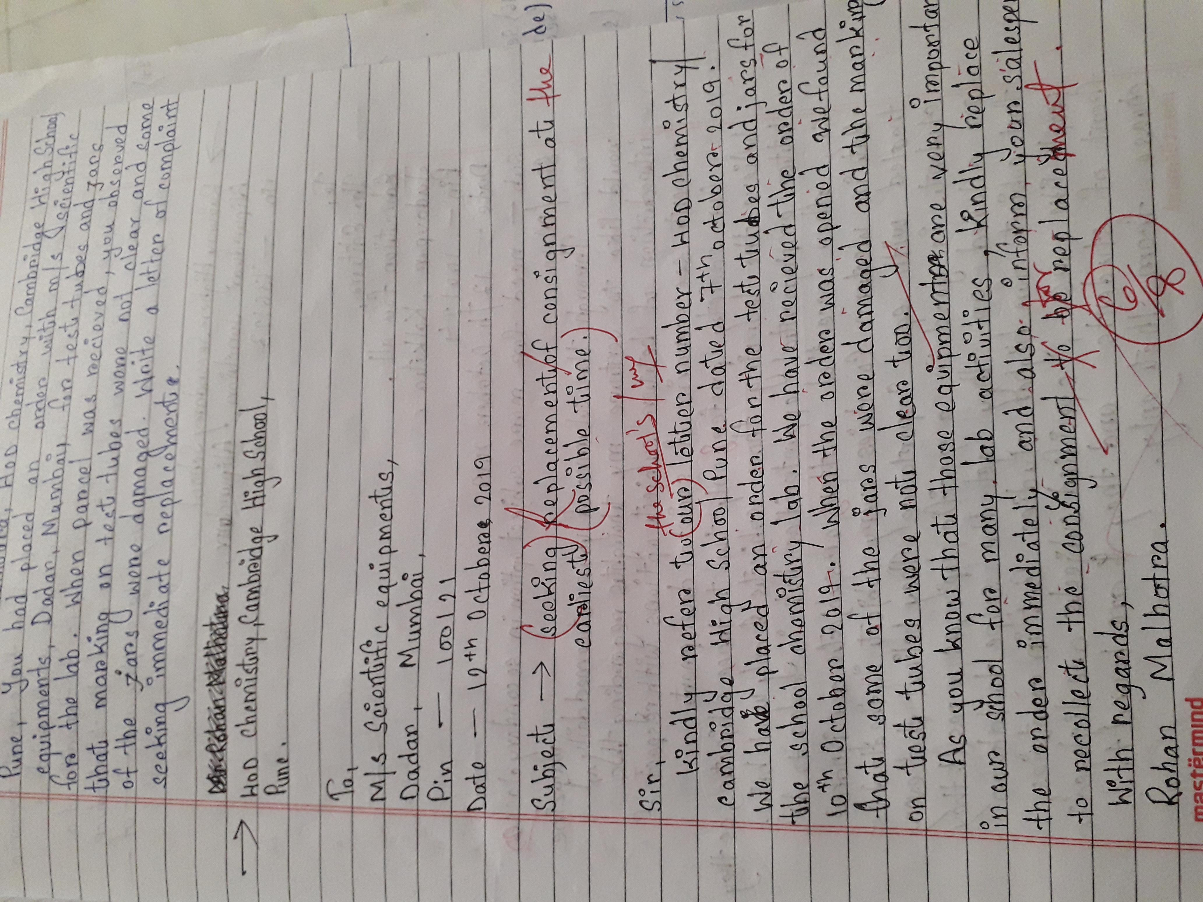 As Mr Rohan Malhotra Hod Chemistry Cambridge High School Pune You Had Placed An Order With M S Brainly In