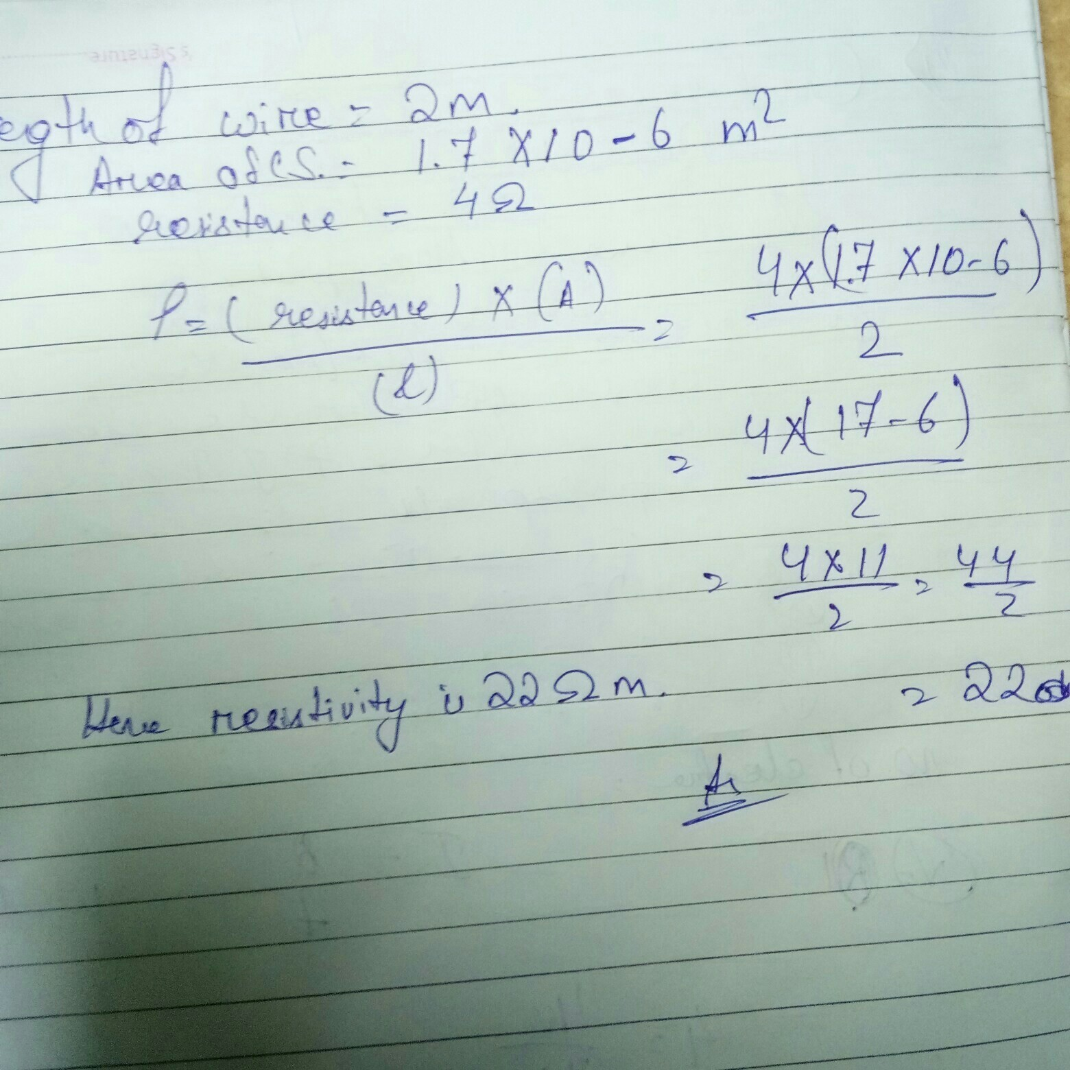 A copper wire of length 2 m and area of cross-section 1.7x10-6 m 2 ...