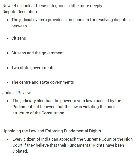 what is the role of judiciary in India pointwise answer