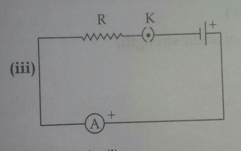 10. A cell, a resistor, a key and ammeter are arranged as ...
