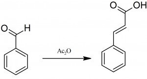 What is product formed when Benzaldehyde reacts with acetic