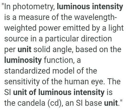The Unit Of Luminous Intensity Is 1 Lumen 2 Lux 3 Candela 4