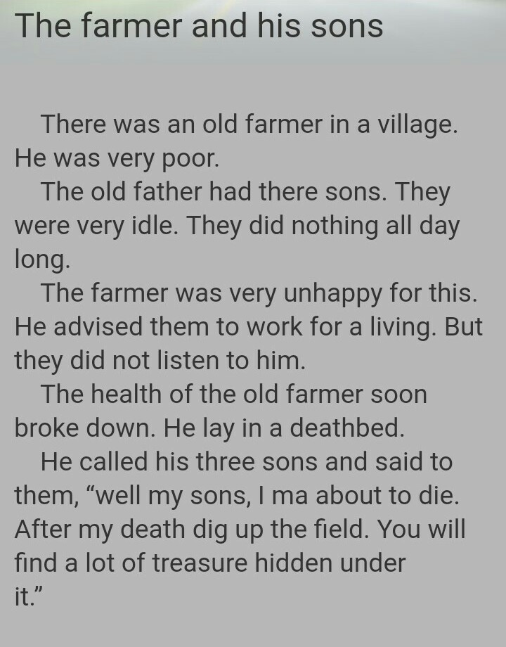 A Farmer And His Sons Story In English - Best View About