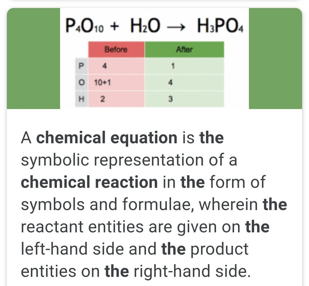 Define Chemical Equation And State Its Implications Brainly