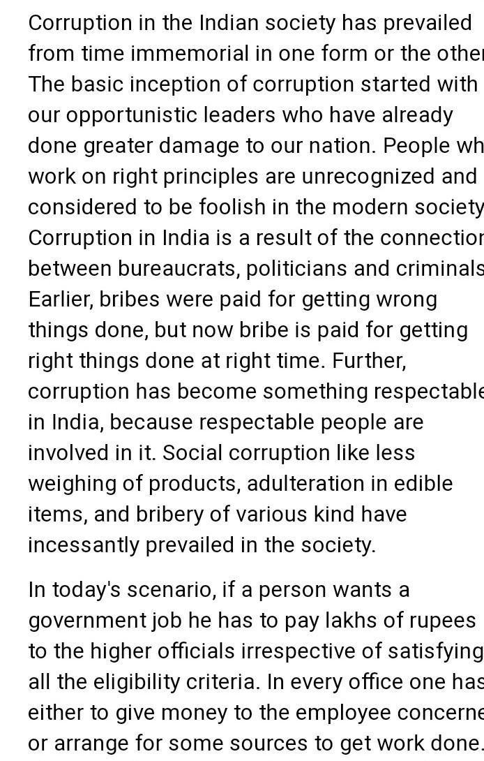 bribery in india essay