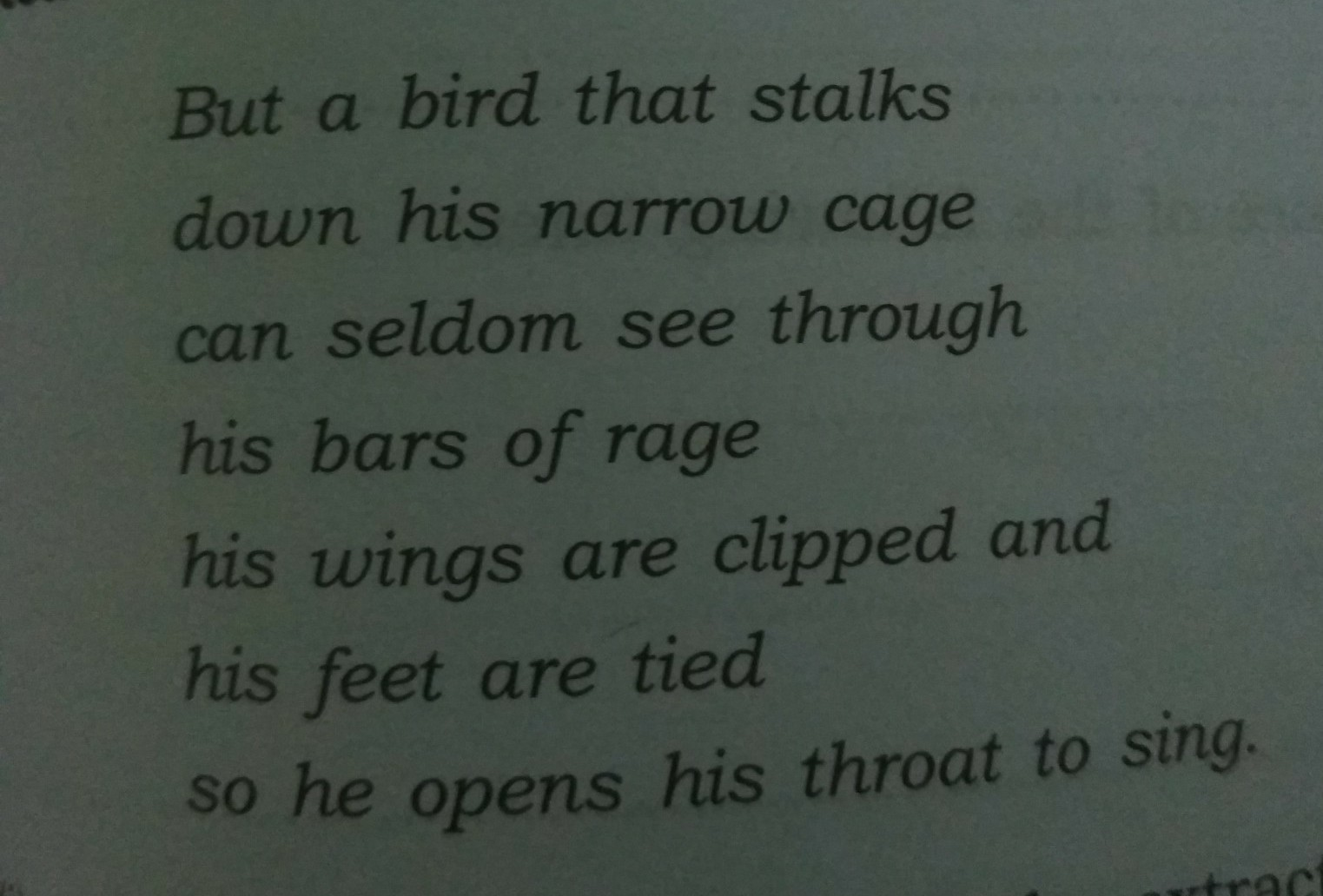 what does the poem caged bird mean