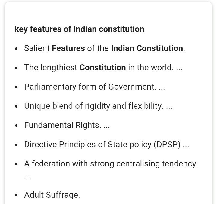 Key Features Of Indian Constitution In A Short Sentences Brainly In