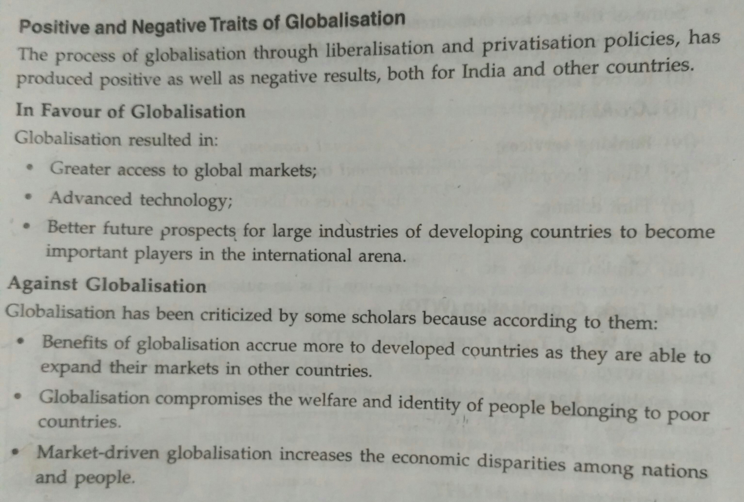 positive and negative effects of globalisation