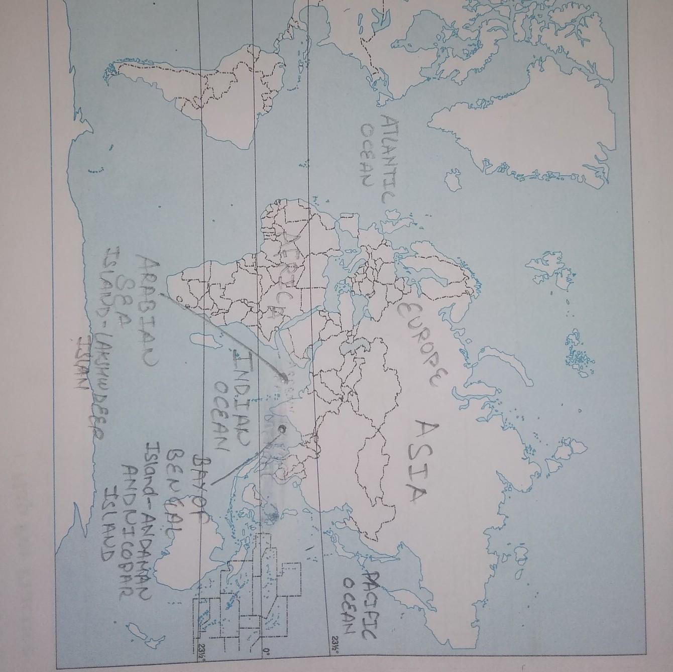 Image of: Tvon The World Outline Map Mark Any Three Continents Any Three Oceansany Three Seas Any Three Brainly In