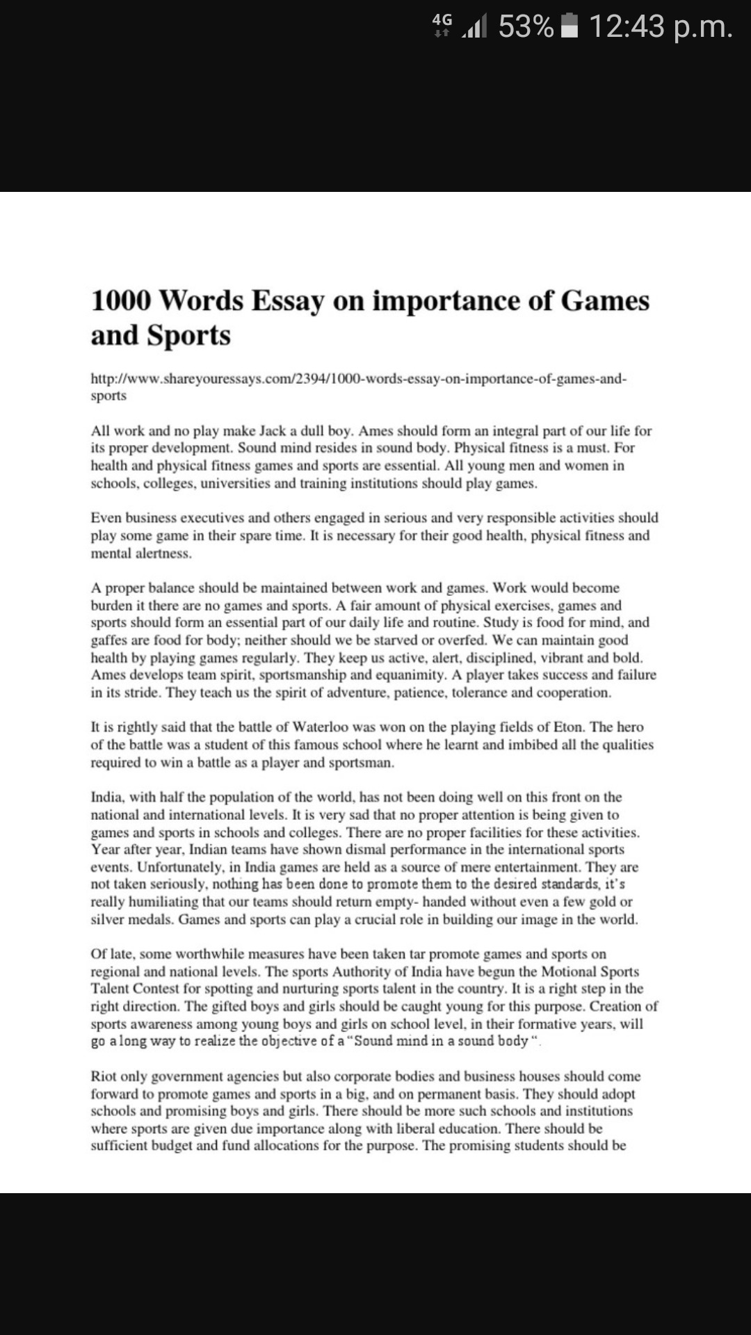 volume of game and sport essay   brainlyin