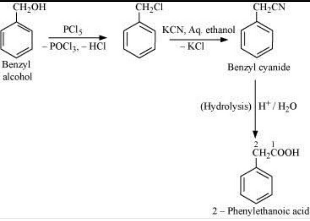 Convert benzyl alcohol to 2-phenylethanoic acid - Brainly in