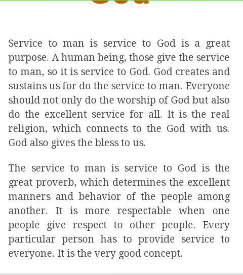 essay on the topic service to mankind is service to god