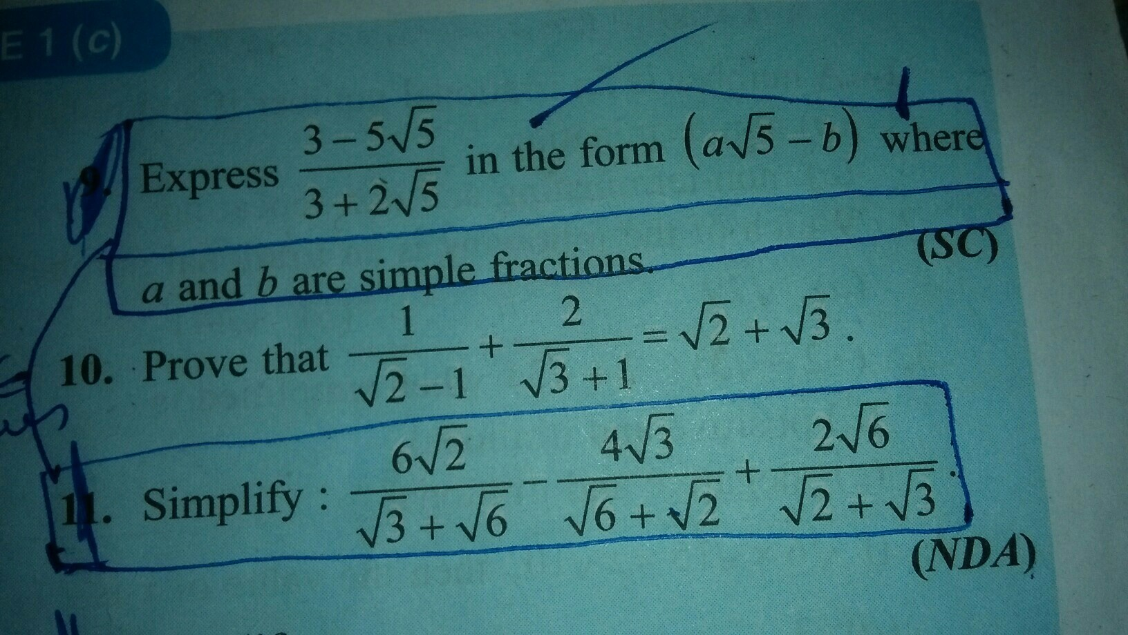 please tell me the answer of Q9, 11 not 10 please tomorrow is my ...