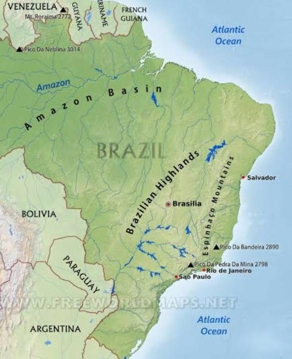 Brazilian Highlands showing on map - Brainly.in