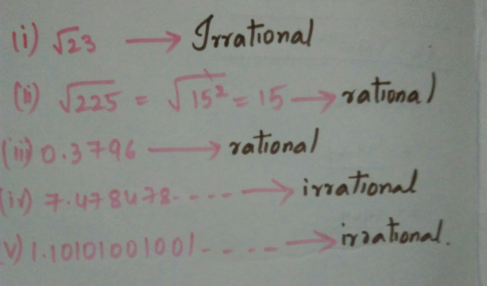 Classify The Following Numbers As Rational Or Irrational I Root Of 23 Ii Root Of Brainly In The square root of 225 is 15, both the perfect square 225 and its square root 15 has the unit digit as 5. classify the following numbers as