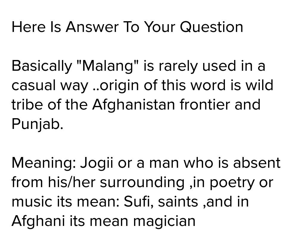 What Malang Meaning Ful Output Brainly In