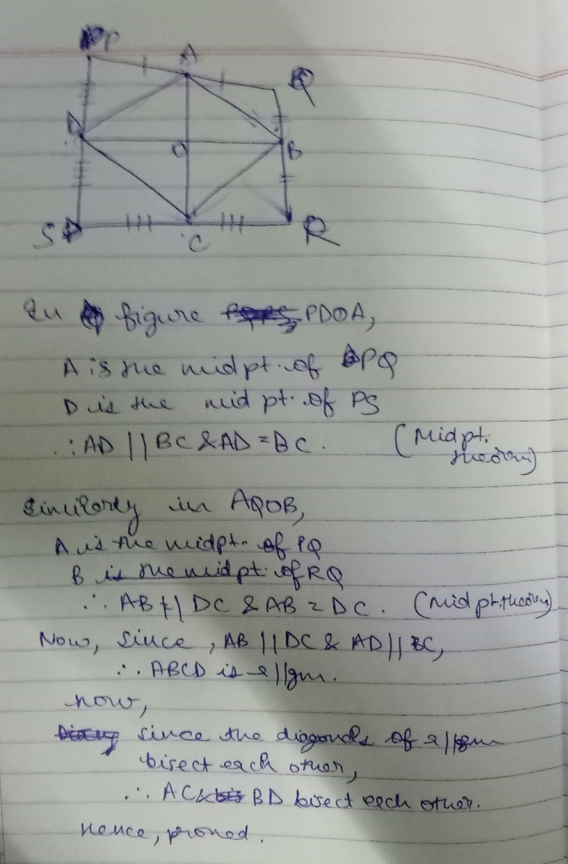 In the given diagram PQRS is a quadrilateral in which PQ
