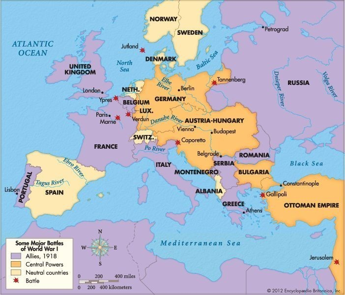 On Outline Map Of World Locate And Label The Following Major Countries Of The First World War A Brainly In