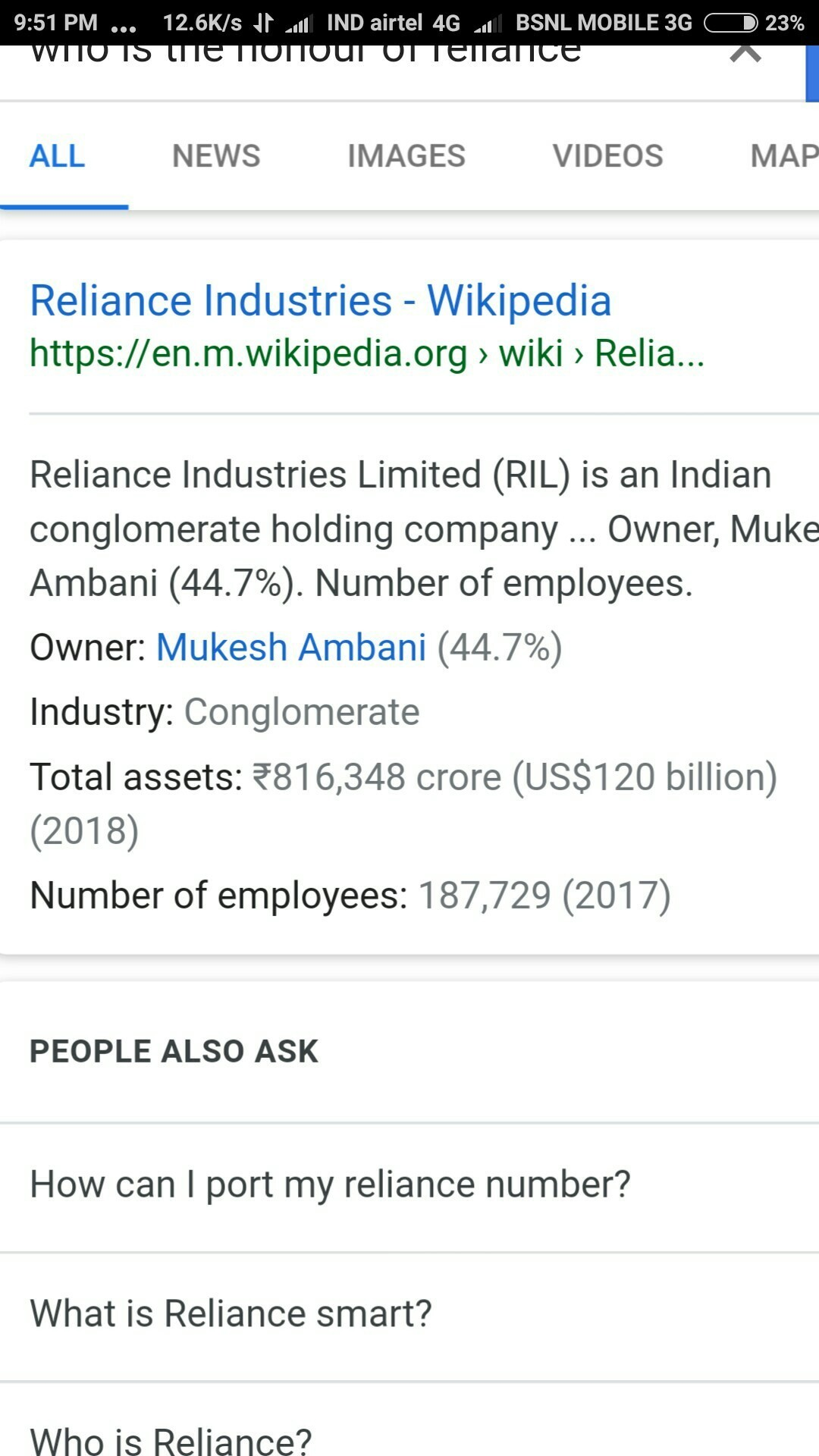 who is the honour of Reliance ? - Brainly in