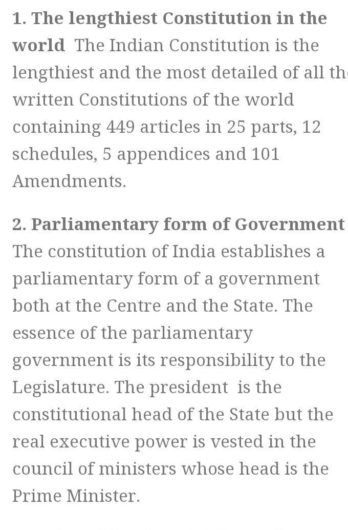 Write The Key Feature S Of Indian Constitution Brainly In