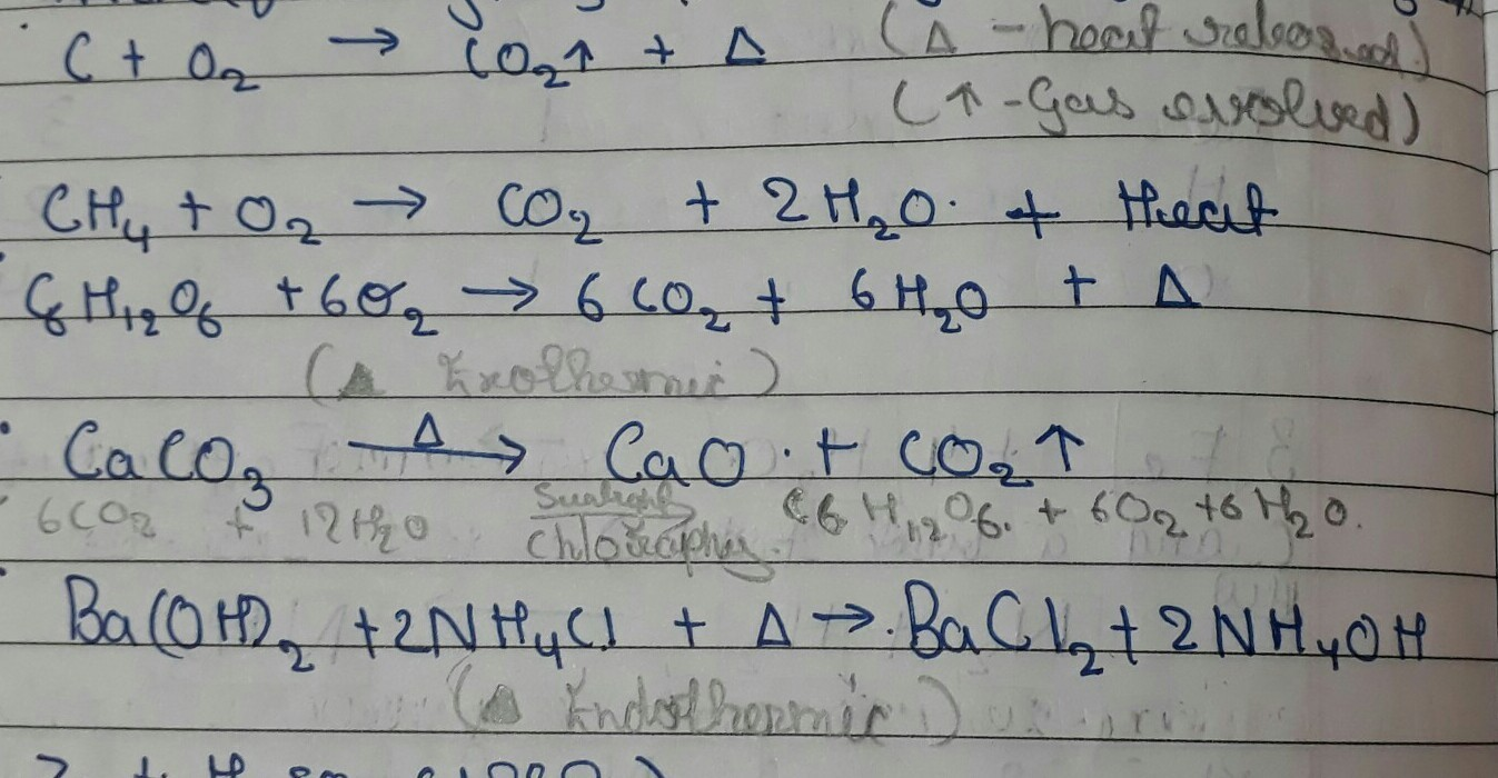 Give An Example Of Combination Reaction Which Is Also Exothermic And