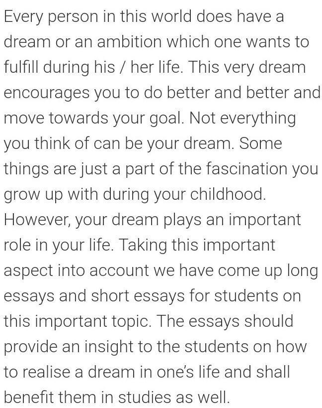 my dream essay for class 3