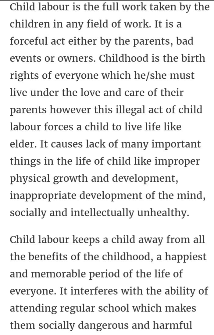 essay child labour 150 words