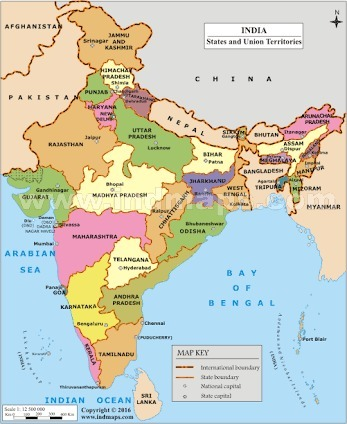 Show The India Map show the map of India   Brainly.in