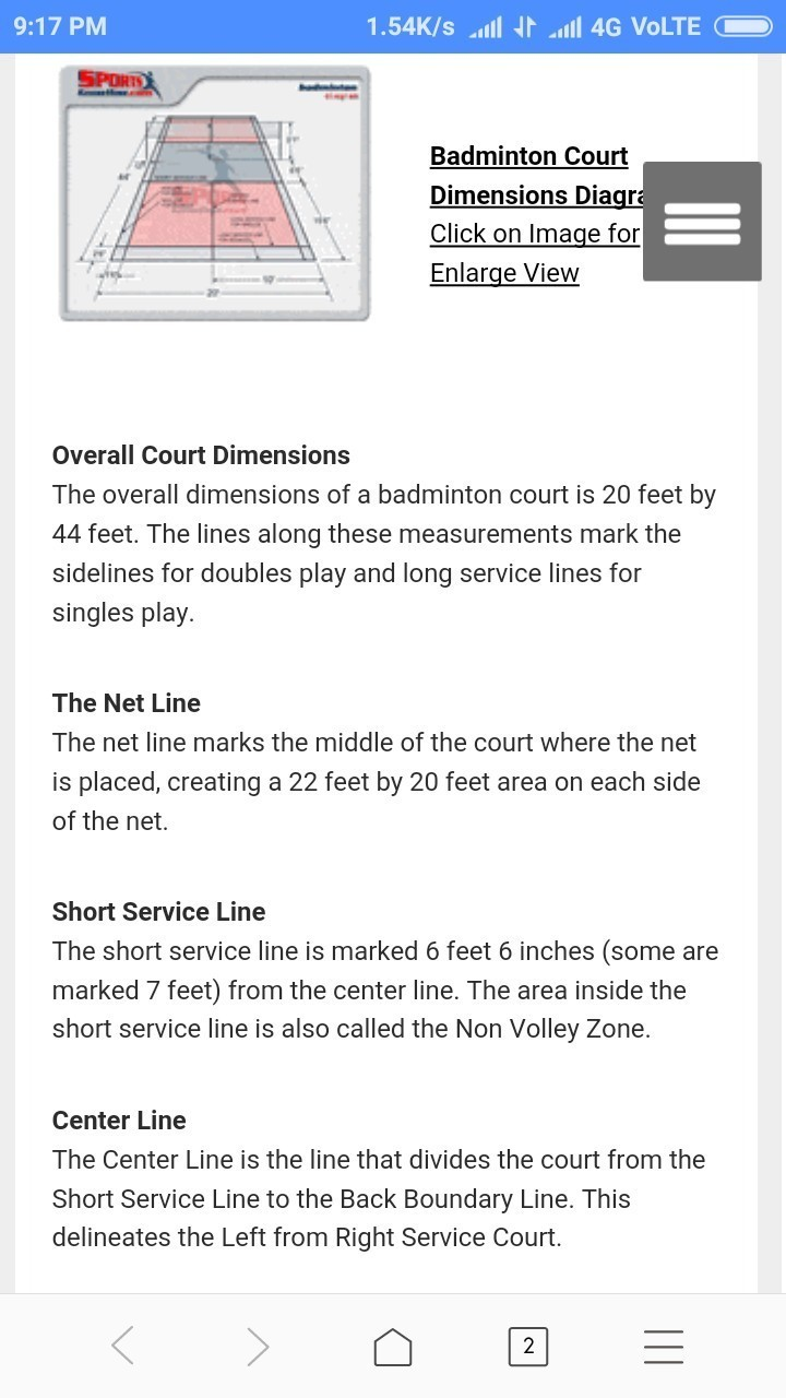 badminton court measurement - Brainly in