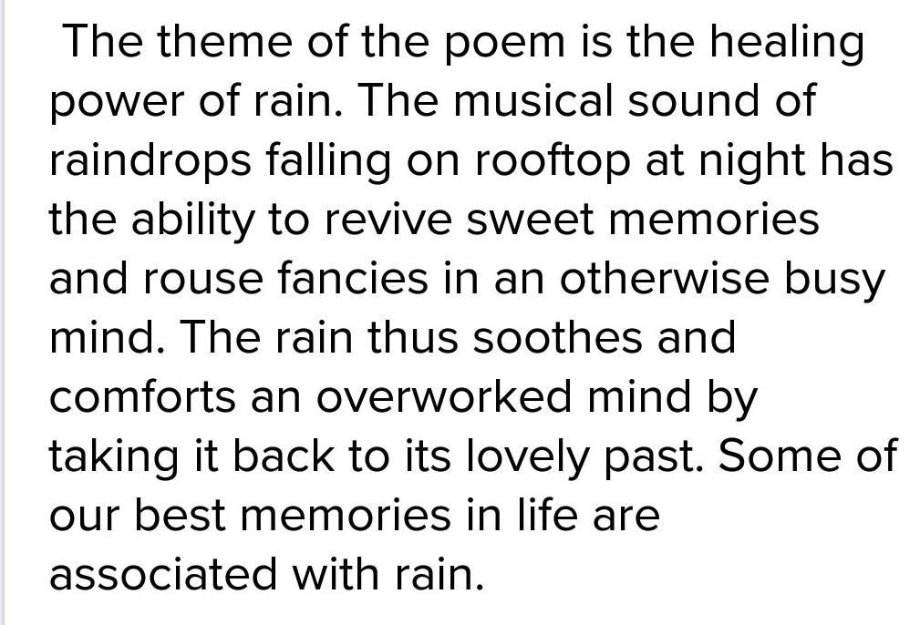 write theme of the poem rain on the roof - Brainly in
