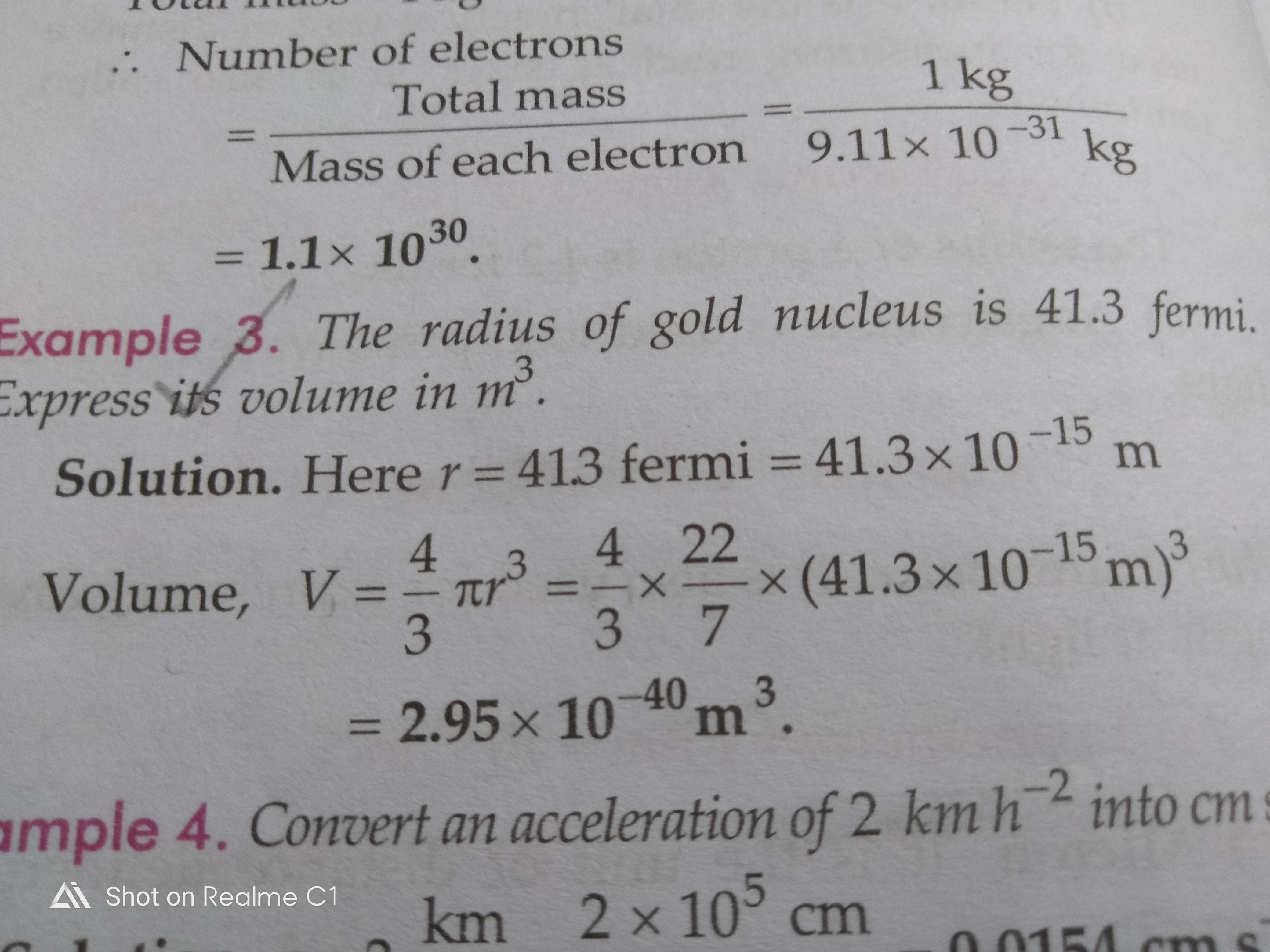 The Radius Of Gold Nucleus Is 413fermi Express Its Volume