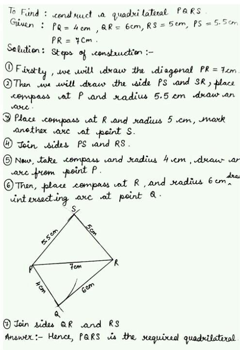 construct a quadrilateral pqrs in which PQ=PS= 4 cm QR=QS