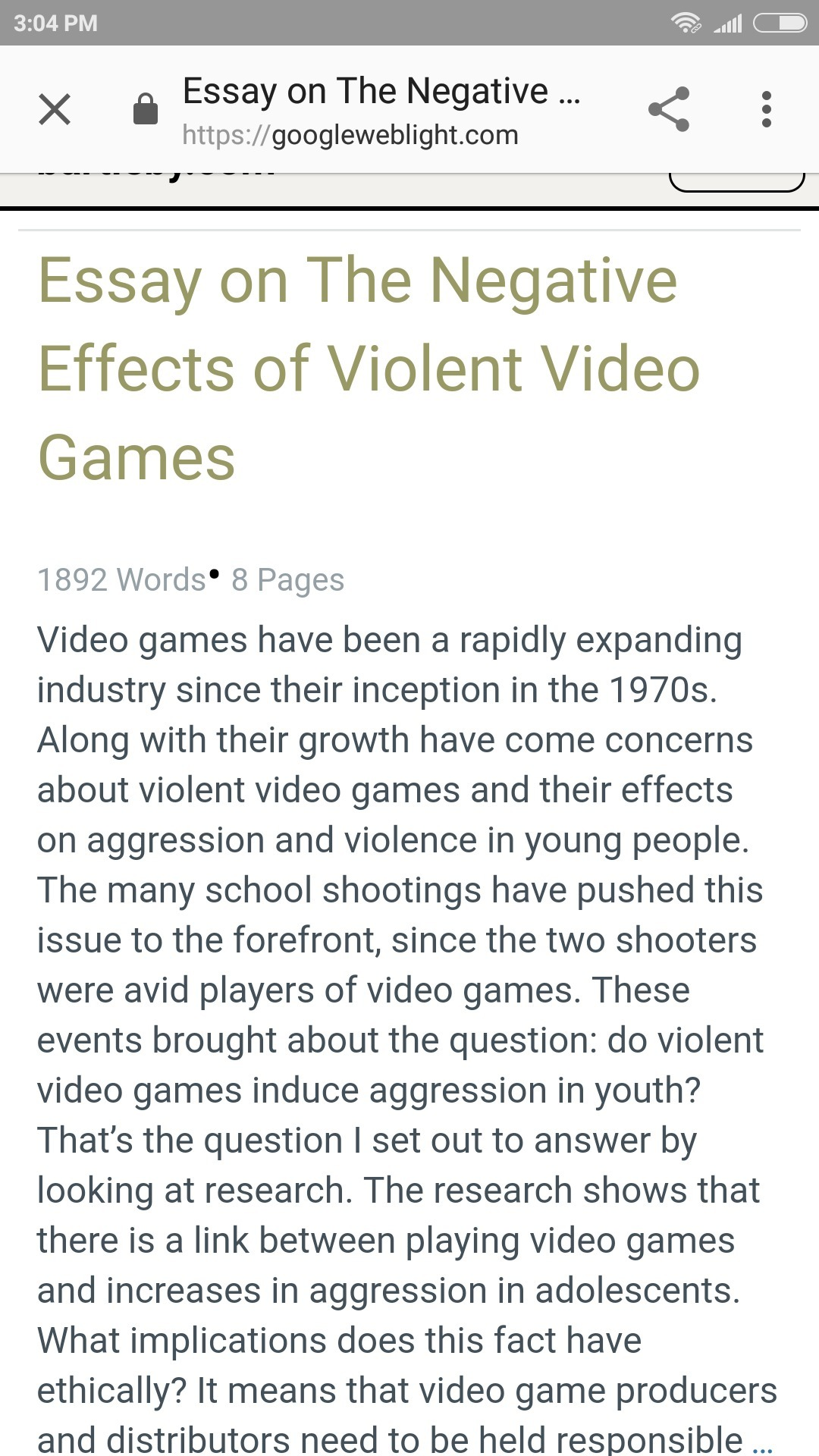Essays Violent Video Game Affect Children Negatively  Brainlyin Download Jpg