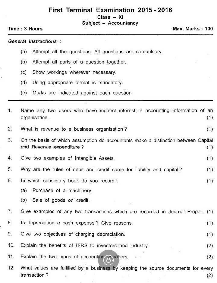 accountancy questions paper xi 2015 - Brainly in