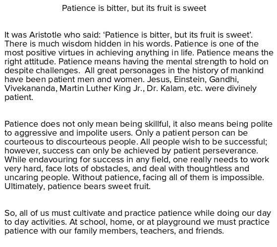 Essay on patience