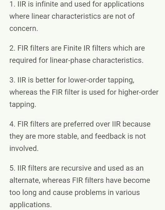 Compare FIR and IIR filter - Brainly in