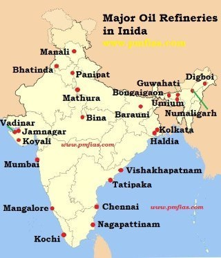 petroleum refineries in india map On Political Map Of India Mark Areas Where Petroleum Is Found In petroleum refineries in india map