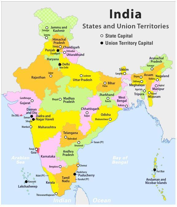 india political map outline with states and capitals Mark The States And Capitals On A Political Map Of India india political map outline with states and capitals