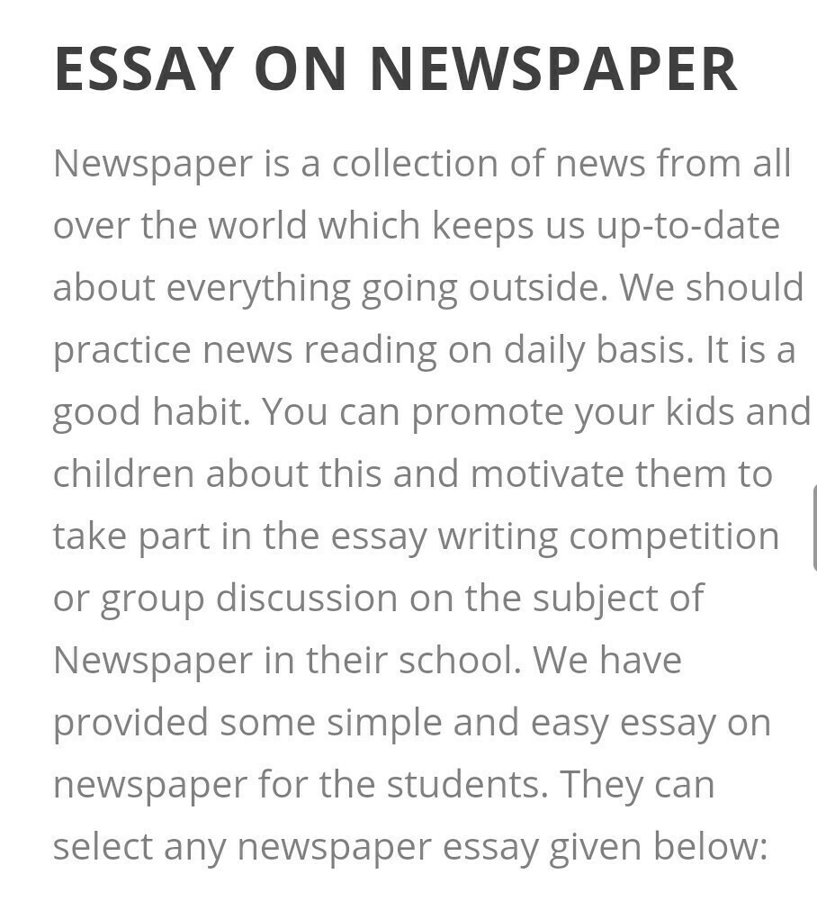 Essay Of Newspaper  The Newspaper Essay also Research Paper Essays Write An Essay On Newspaper   Brainlyin High School Personal Statement Sample Essays