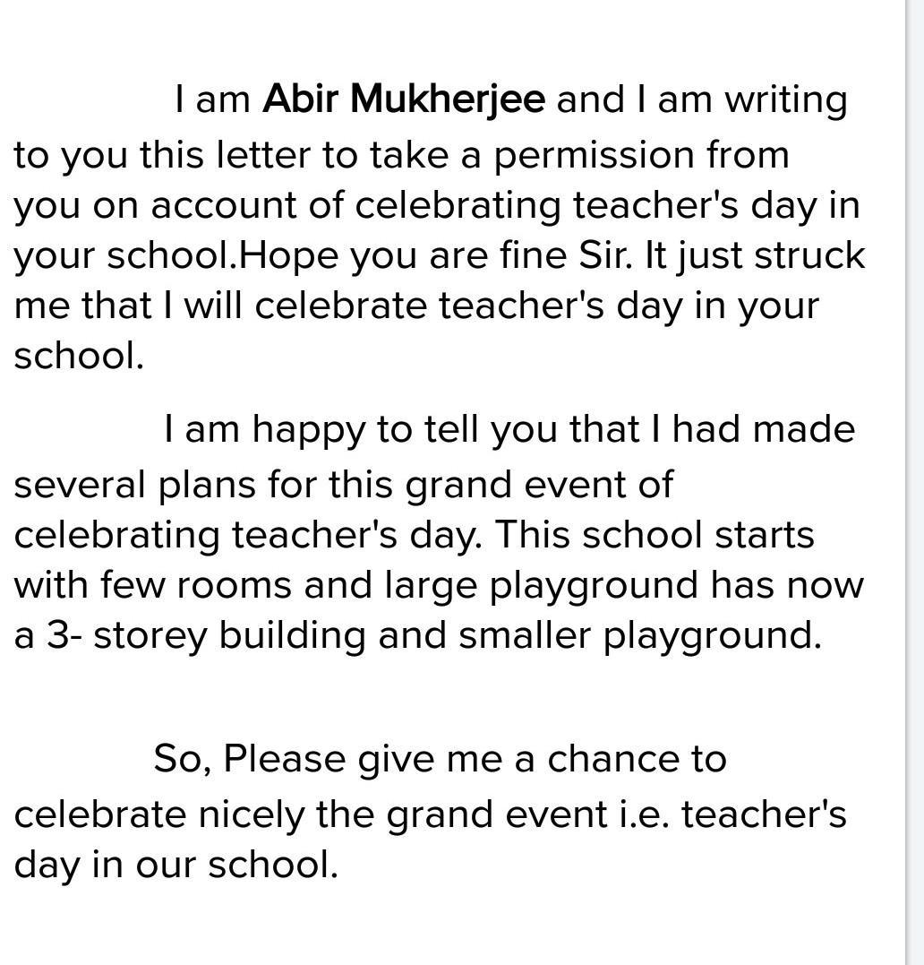 write a letter to the headmaster to celebrate Teachers Day