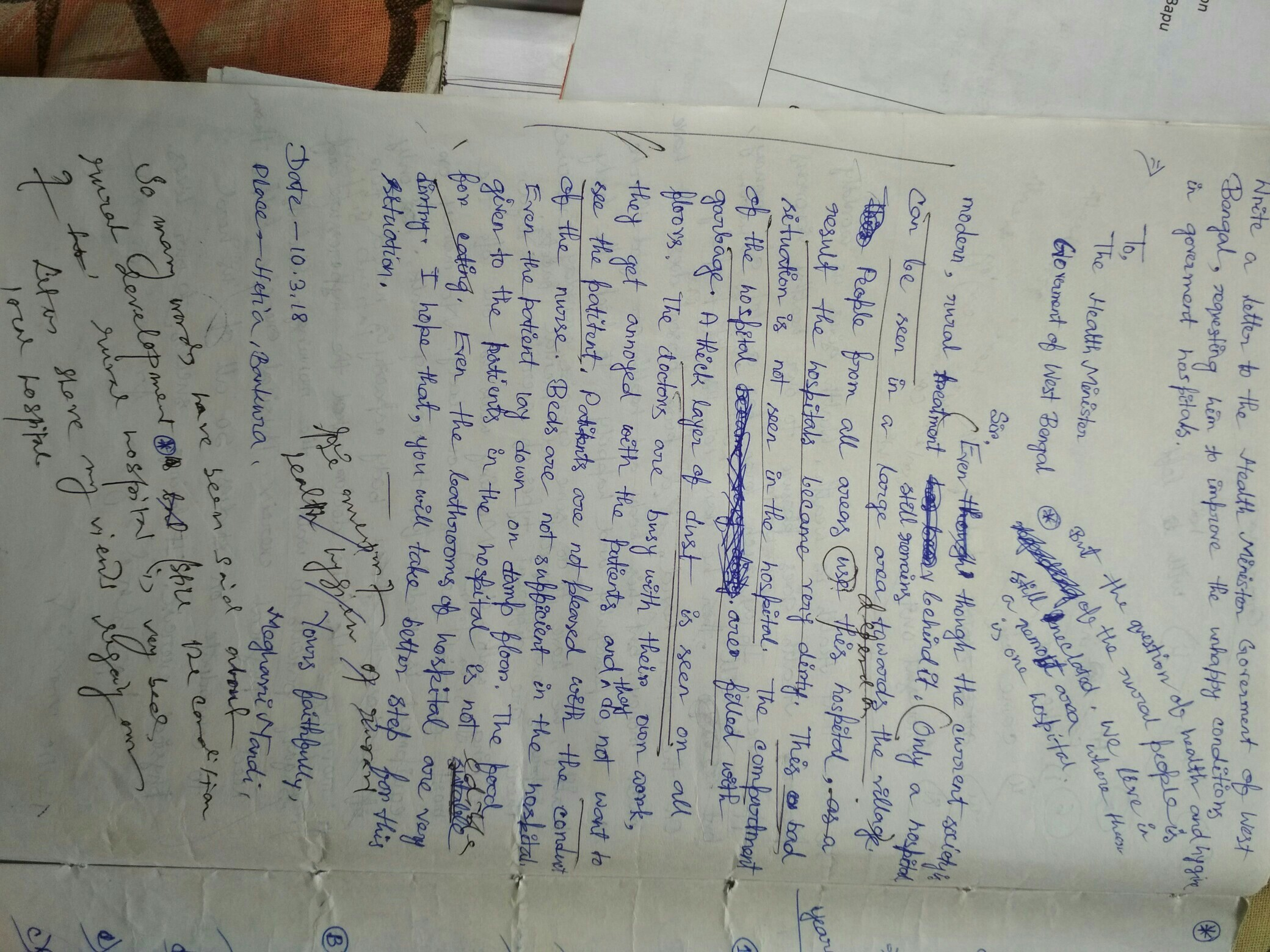 Write an editorial letter on the bad condition of hospital