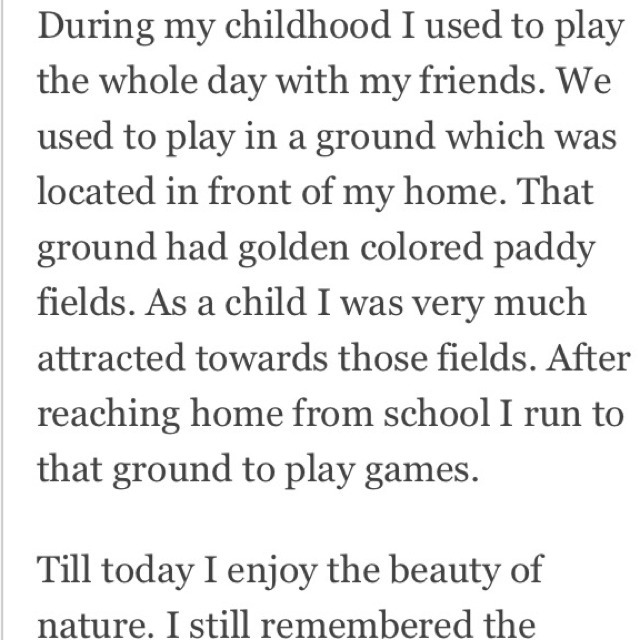 Paragraph on my childhood memory | Essay Example