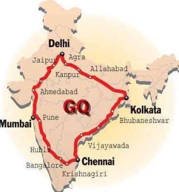 Golden Quadrilateral Map Locate the four locate the four cities came in Golden